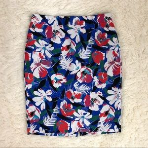 J. Crew basket weave floral pencil skirt size 00